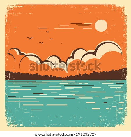 blue lake nature landscape on old paper texture.Vector vintage poster - stock vector