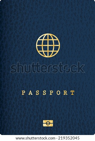 blue leather passport with globe icon - stock vector