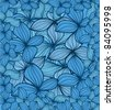 Blue leaves abstract background - stock vector