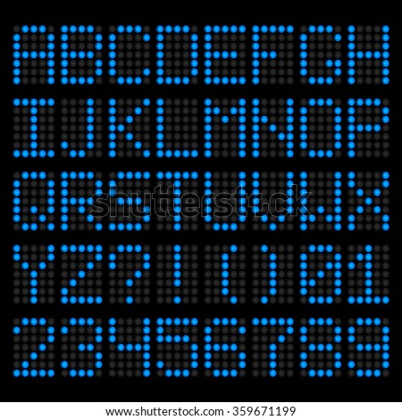 Blue LED letters and numbers. Electronic scoreboard. Vector alphabet