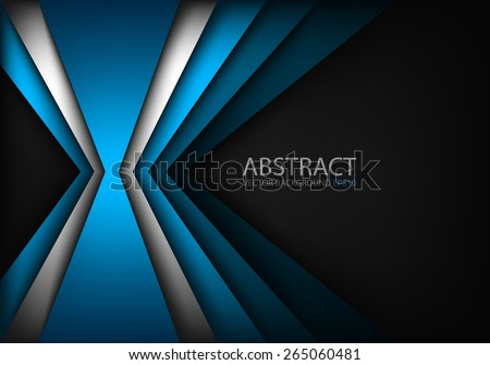 Blue light angle background and silver line overlap layer paper on dark space for text and message modern artwork design - stock vector