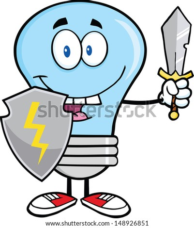 Blue Light Bulb Guarder With Shield And Sword