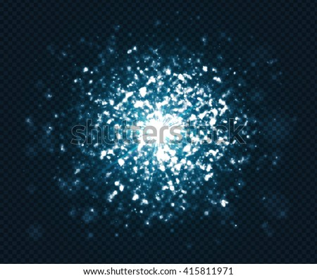 Blue light glare on dark transparent background. Cosmic glows and lighting effects with particles, sparkles, explosion and flash. Abstract vector illustration for your design - stock vector
