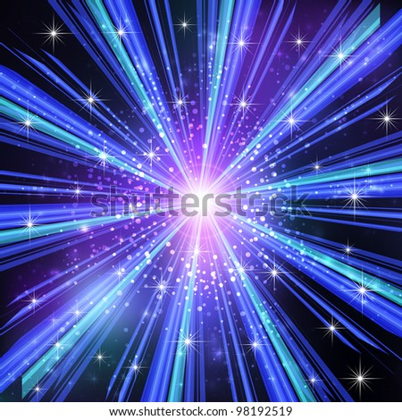 Blue Light rays with stars. Vector illustration. - stock vector