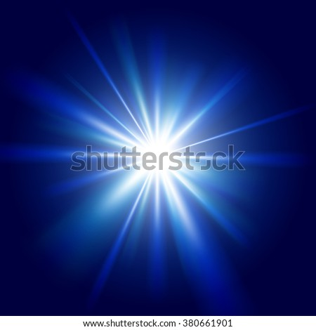 Blue light sunburst background. Vector star burst illustration. - stock vector