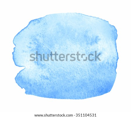 Blue light watercolor hand drawn paper texture water isolated drop on white background. Abstract vector wash brush paint round artistic element for design, scrapbook, print, template, cover, wallpaper - stock vector