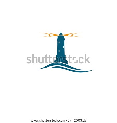 Blue lighthouse with orange light safety travel concept - stock vector