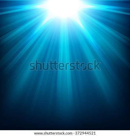 Blue lights shining background - stock vector