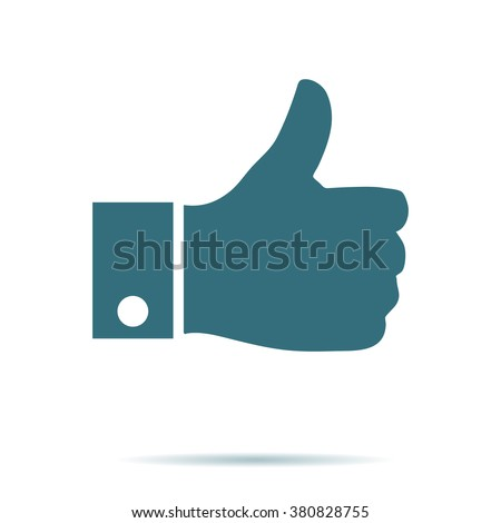 Blue Like icon isolated on background. Modern simple flat thumb up sign. Business internet, social concept. Trendy network vector symbol for web site design or button to mobile app. Logo illustration  - stock vector