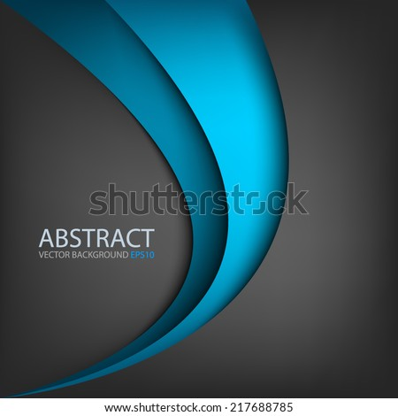 Blue line curve gradient background on black color background layer paper overlap for text and message modern artwork design - stock vector