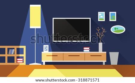blue living room interior flat vector illustration - stock vector