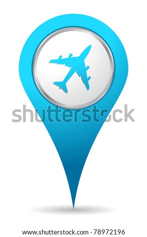 blue location airplane icon - stock vector