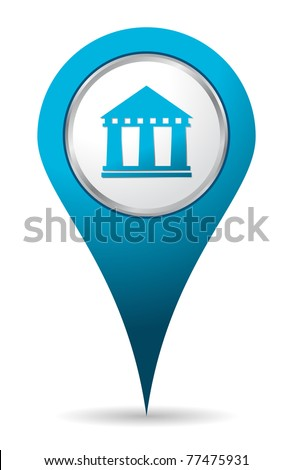 blue location bank icon - stock vector