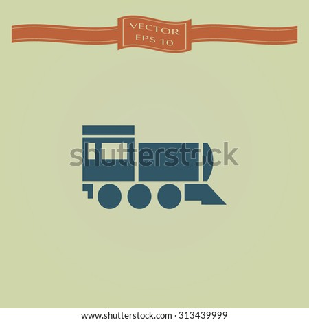Blue Locomotive icon . Vector illustration - stock vector