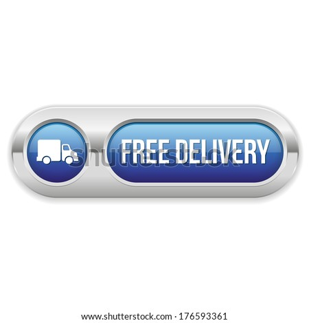 Blue long free delivery button with metallic border
