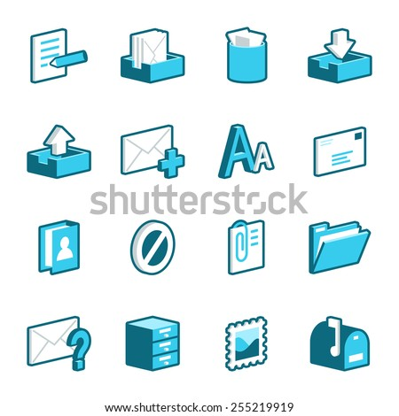 Blue mail and message vector icons.
