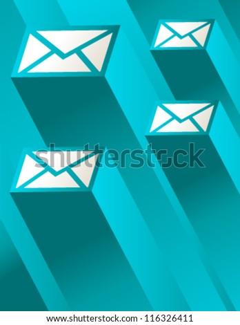 Blue Mail Illustration - stock vector