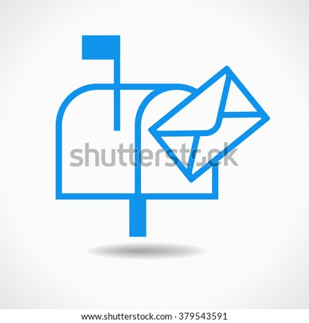 Blue mailbox icon on a white background. The file is saved in the version 10 EPS. - stock vector