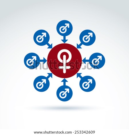 Blue male and red female signs connected with arrows, gender symbols. Group sex conceptual icon, relationship concept.  - stock vector