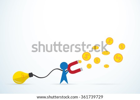 blue man attracts money with a large light bulb and magnet, idea and business concept - stock vector