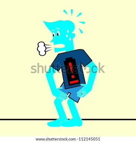 Blue Man Tired with Low Energy - stock vector