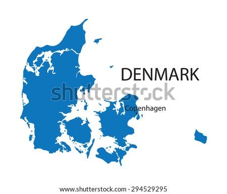 blue map of Denmark with indication of Copenhagen - stock vector