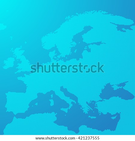 Blue map of Europe in the dots. Europe map vector illustration. Europe map on blue background. Europe map wallpaper. - stock vector