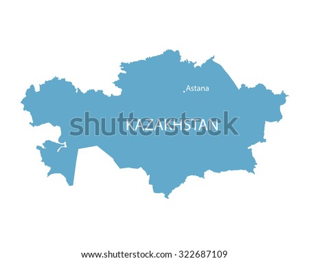 blue map of Kazakhstan with indication of Astana