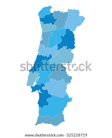 blue map of Portugal (districts on separate layers) - stock vector