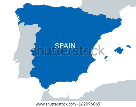 blue map of Spain - stock vector