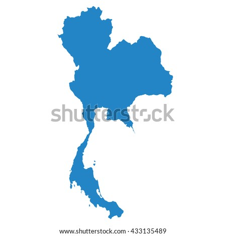 blue map of Thailand - stock vector