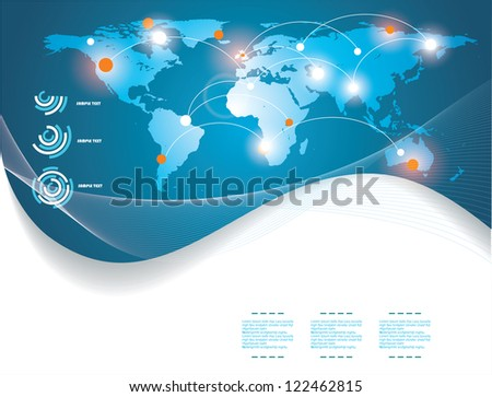blue map of the world - stock vector