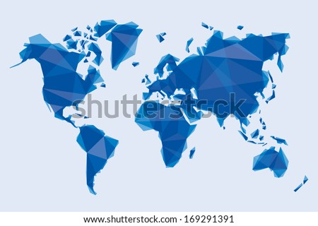 blue map of the world in origami style - stock vector