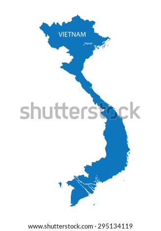 blue map of Vietnam with indication of Hanoi - stock vector