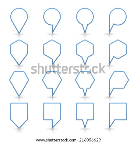 Blue map pin sign location icon with gray reflection and shadow isolated on white background  in simple flat style. This web design element save in vector illustration 8 eps - stock vector