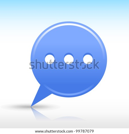 Blue map pin with chat room sign. Satin round web internet button icon with drop gray shadow and color reflection on white background. Vector saved in 10 eps. See more design elements in my gallery - stock vector