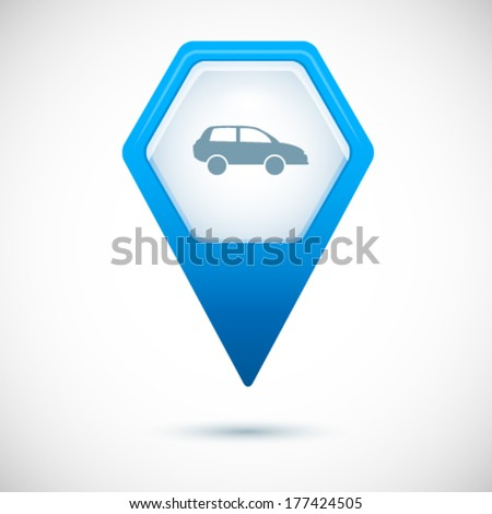 Blue Map pointer in the form of hexagon isolated on white background with shadow and light flares . Vector illustration EPS 10 . Design element to mark the location on the map with car icon