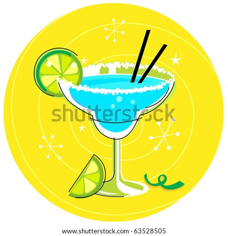 Blue Margarita: Retro cocktail icon on yellow background. Vector Illustration.
