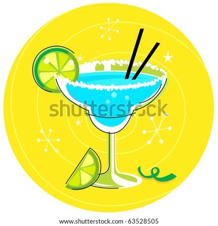 Blue Margarita: Retro cocktail icon on yellow background. Vector Illustration. - stock vector