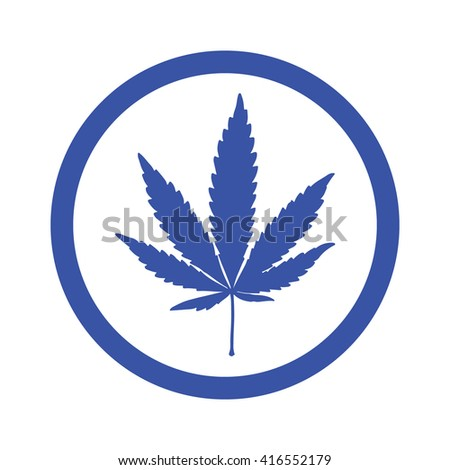 Blue marijuana leaf in circle icon vector illustration - stock vector