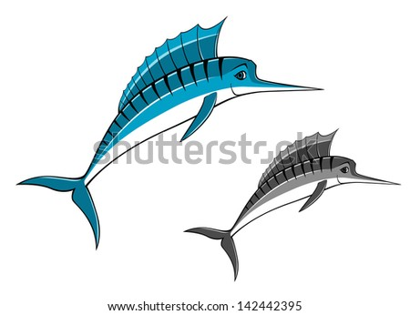 Blue marlin fish in cartoon style for fishing sports design. Jpeg version also available in gallery  - stock vector