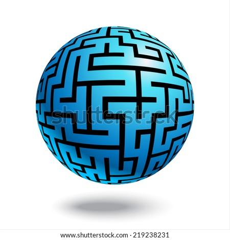 Blue Maze Ball Vector - stock vector