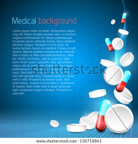 Blue medical background with pills and place for your text - stock vector
