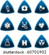 Blue medical signs on triangle buttons - stock vector