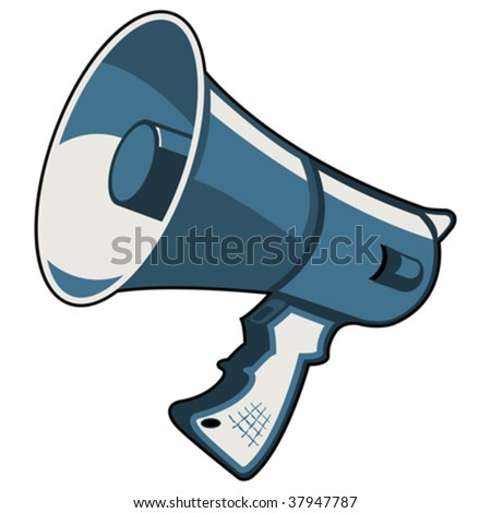 Blue megaphone isolated over white square background