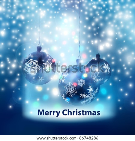 Blue Merry Christmas Balls Background