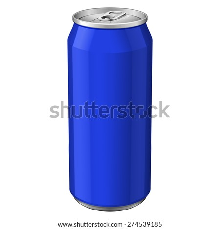 Blue Metal Aluminum Beverage Drink Can 500ml. Ready For Your Design. Product Packing Vector EPS10  - stock vector