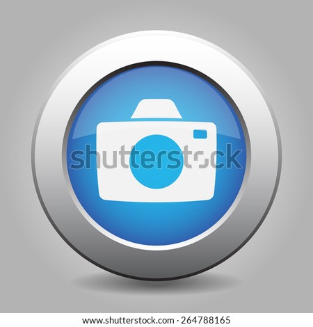 blue metal button - with white camera - stock vector