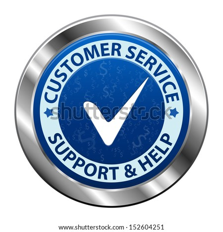 Blue metal label Customer service and support icon or symbol isolated on white background. Vector illustration - stock vector