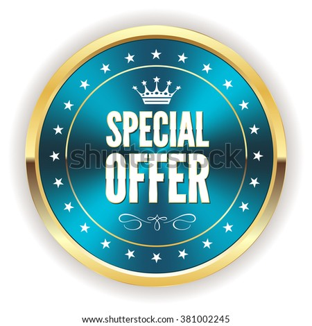 Blue metallic special offer badge with gold border - stock vector